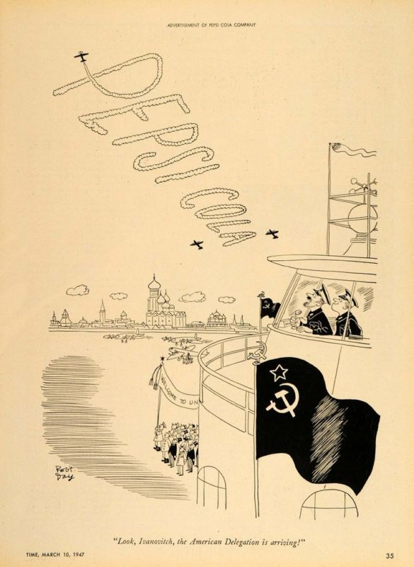 1947 Ad Pepsi Cola Robert Day Cartoon Russian Airport