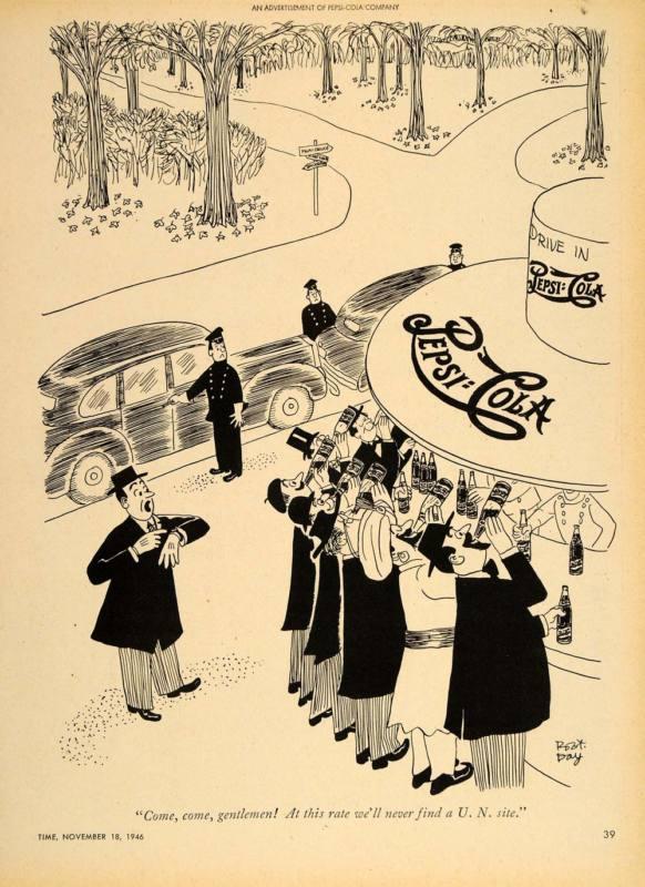 1946 Ad Pepsi Cola Robert Day Cartoon Snack Stand Kiosk