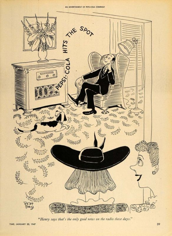 1947 Ad Pepsi Cola Robert Day Cartoon Vintage Radio