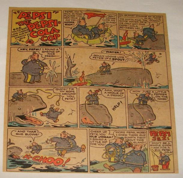Pepsi Cola Cop - Whale cartoon 1946