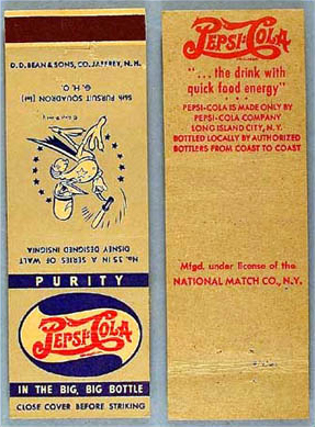 Old Pepsi Cola military insignia matchbook cover WWII