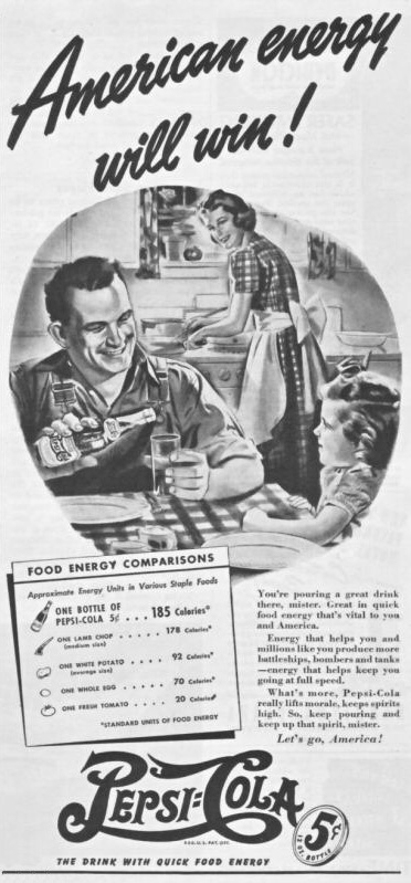 Pepsi-Cola American Energy family in kitchen print ad 1942