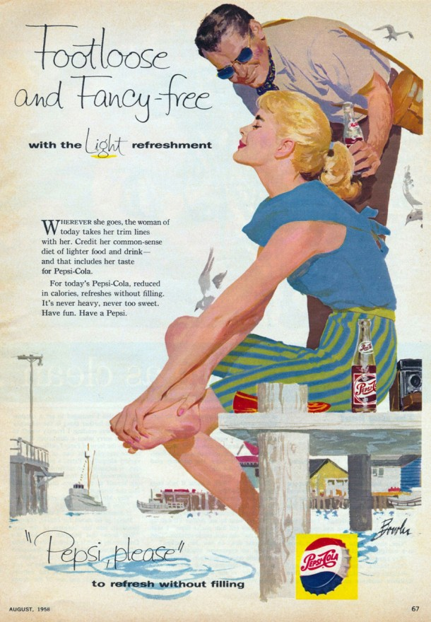 "Pepsi ""Foot loose and fancy free with the light refreshment"" 1958"