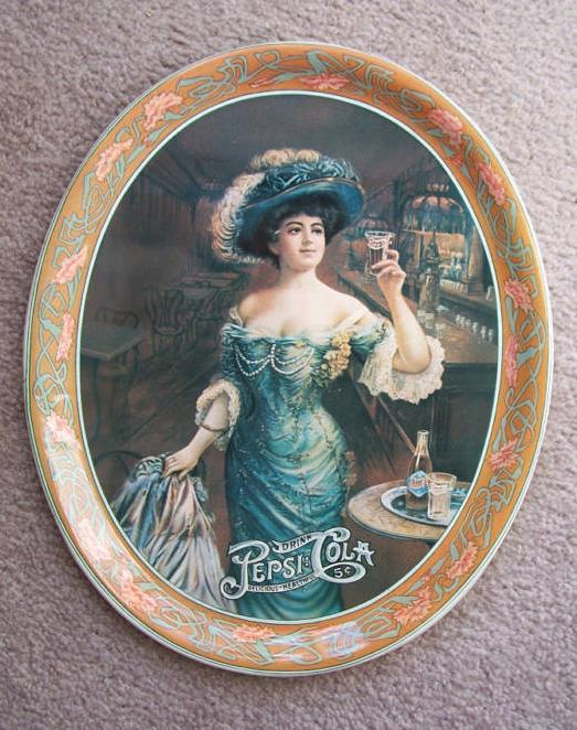 Pepsi Cola vintage Gibson girl tin serving tray 1909