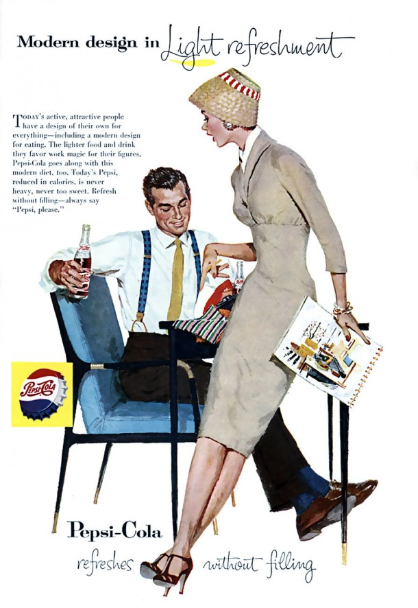 "Pepsi ""Modern design in light refreshment"" 1957"
