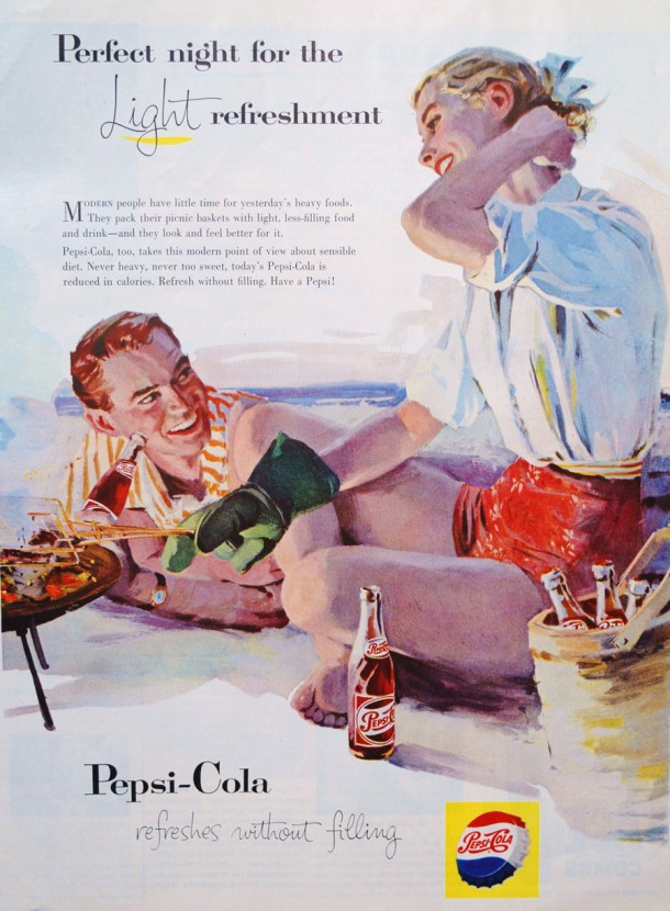"Pepsi ""Perfect night for the light refreshment"" 1950s"
