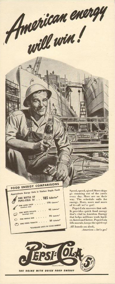 Pepsi-Cola American Energy ship builder print ad 1942
