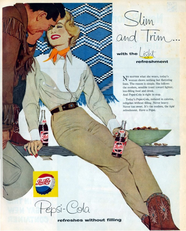 "Pepsi ""Slim and trim... with the light refreshment"" 1958"