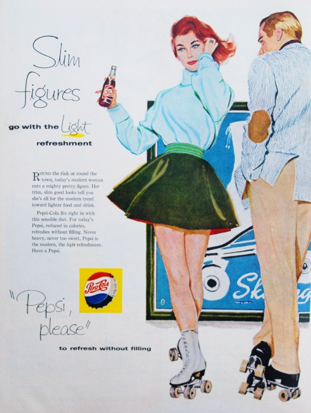 "Pepsi ""Slim figures go with the light refreshment"" 1950s"
