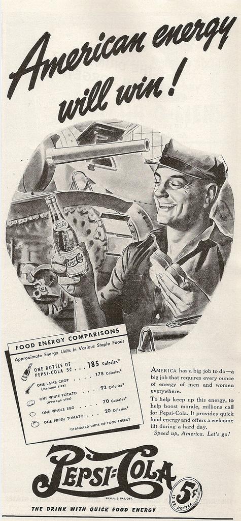 Pepsi-Cola American Energy tank mechanic print ad 1942