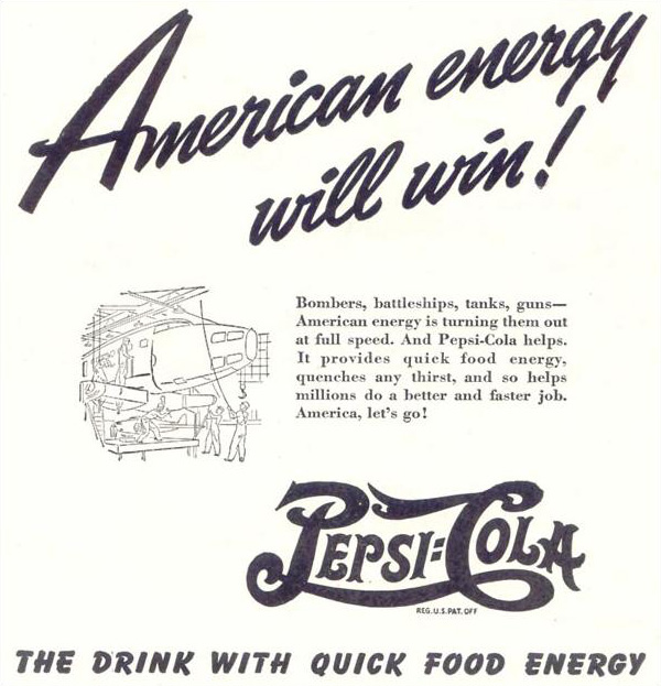 "Pepsi-Cola ""The drink with quick food energy"" print ad 1942"