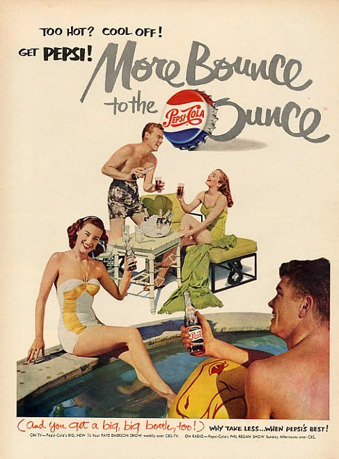 """Too hot? Cool off!"" with two couples at a swimming pool 1951"