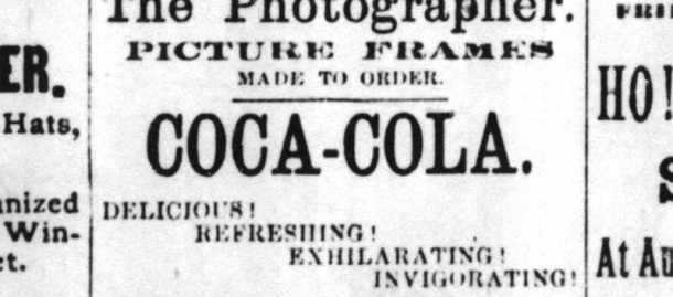 1886 - The first advertisement for Coca-Cola